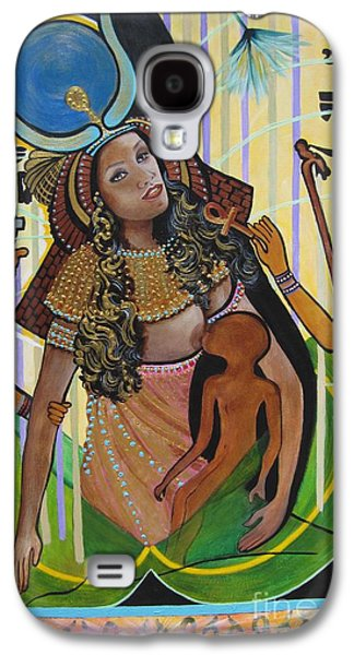 Gold Necklace Galaxy S4 Cases - 504a Isis Breast Feeding Horus-son of Osiris Galaxy S4 Case by Sigrid Tune