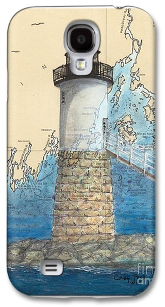 Penobscot Bay Paintings Galaxy S4 Cases - Isle Au Haut Lighthouse ME Nautical Map  Galaxy S4 Case by Cathy Peek