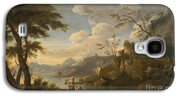 The Followers Paintings Galaxy S4 Cases - Italianate Landscape With Peasants Resting In The Foreground Galaxy S4 Case by Follower of Giuseppe Zais