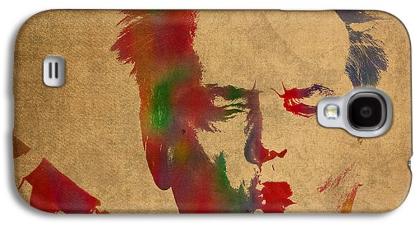 Jack Nicholson Smoking A Cigar Blowing Smoke Ring Watercolor Portrait On Old Canvas Galaxy S4 Case by Design Turnpike