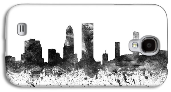 Skylines Drawings Galaxy S4 Cases - Jacksonville Florida Cityscape 02BW Galaxy S4 Case by Aged Pixel