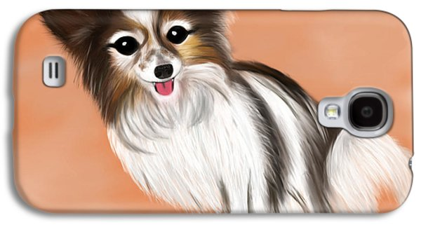 Puppy Digital Art Galaxy S4 Cases - James Blonde - a Papillon with celebrity status Galaxy S4 Case by Beverley Brown
