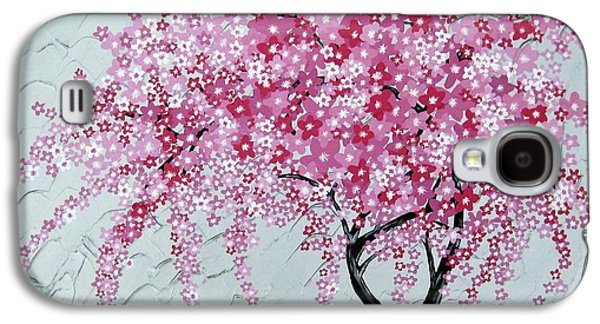 Cherry Blossoms Mixed Media Galaxy S4 Cases - Japanese Cascade Galaxy S4 Case by Cathy Jacobs