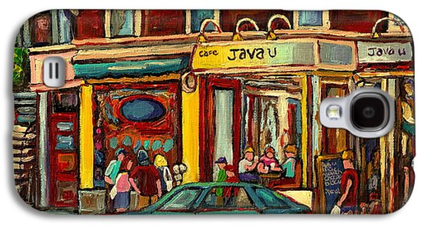Mordecai Richler Galaxy S4 Cases - Java U Coffee Shop Montreal Painting By Streetscene Specialist Artist Carole Spandau Galaxy S4 Case by Carole Spandau