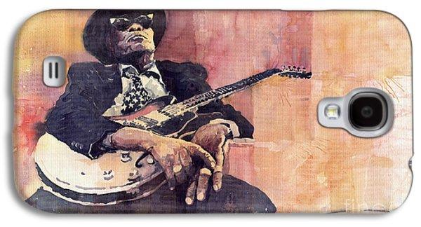 Legend Paintings Galaxy S4 Cases - Jazz John Lee Hooker Galaxy S4 Case by Yuriy  Shevchuk