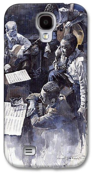 Piano Paintings Galaxy S4 Cases - Jazz Parker Tristano Bauer Safransky RCA studio NY 1949 Galaxy S4 Case by Yuriy  Shevchuk