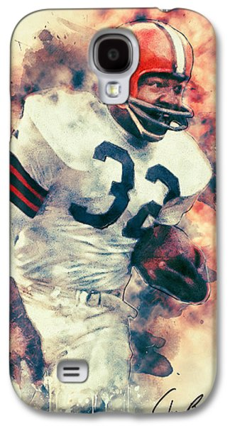 American Football Paintings Galaxy S4 Cases - Jim Brown Galaxy S4 Case by Taylan Soyturk
