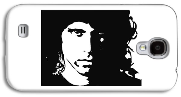 Celebrities Tapestries - Textiles Galaxy S4 Cases - Jim Morrison Sillouette Tee Galaxy S4 Case by Funk Art