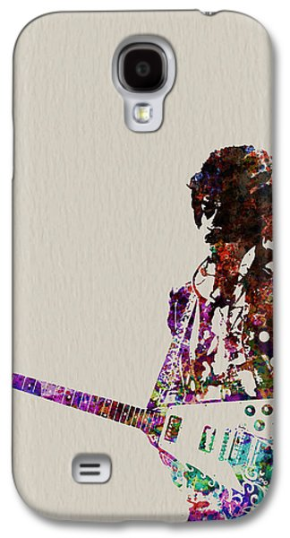 Music Paintings Galaxy S4 Cases - Jimmy Hendrix with guitar Galaxy S4 Case by Naxart Studio
