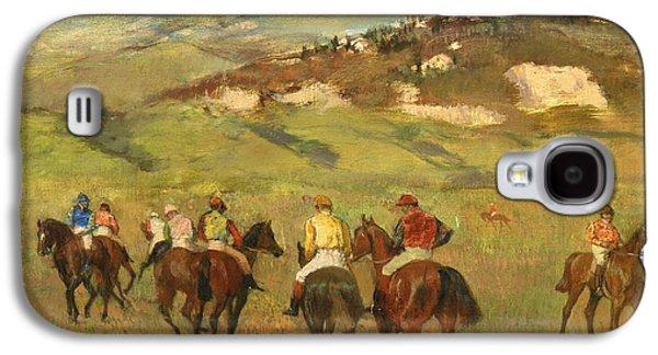 Race Galaxy S4 Cases - Jockeys on Horseback before Distant Hills Galaxy S4 Case by Edgar Degas