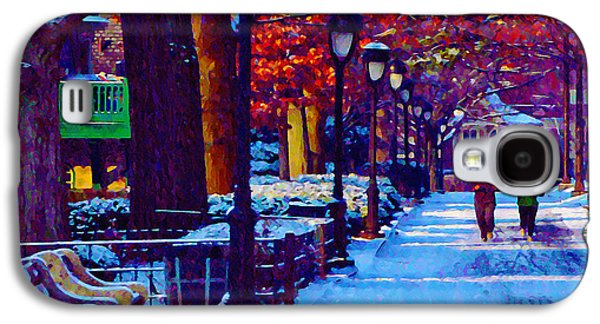 Jogging Digital Art Galaxy S4 Cases - Jogging in the Snow Along Boathouse Row Galaxy S4 Case by Bill Cannon
