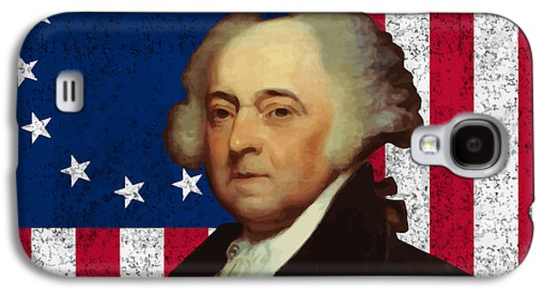 4th July Digital Galaxy S4 Cases - John Adams and The American Flag Galaxy S4 Case by War Is Hell Store