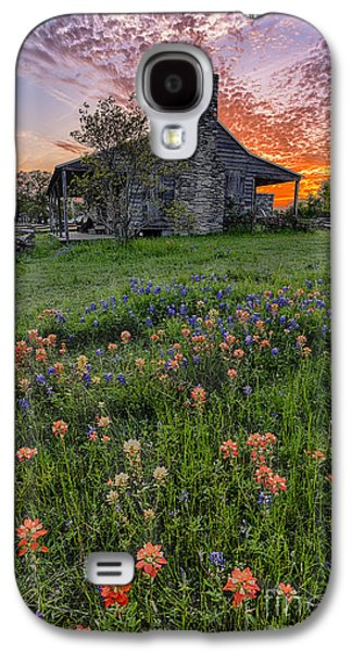 Dog Trots Galaxy S4 Cases - John P Coles Cabin and Spring Wildflowers at Independence - Old Baylor Park Brenham Texas Galaxy S4 Case by Silvio Ligutti