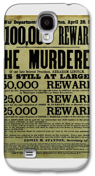 John Wilkes Booth Wanted Poster Galaxy S4 Case by War Is Hell Store