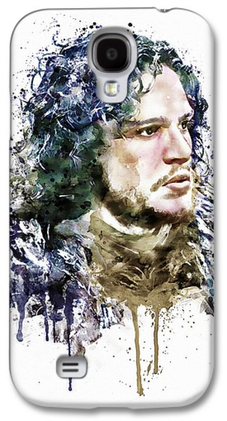 """""""square """" Mixed Media Galaxy S4 Cases - Jon Snow watercolor Galaxy S4 Case by Marian Voicu"""