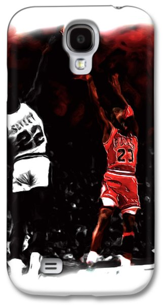 Michael Jordan Paintings Galaxy S4 Cases - Jordan over Salley Galaxy S4 Case by Brian Reaves