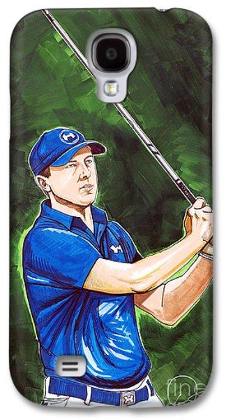 Jordan Drawings Galaxy S4 Cases - Jordan Spieth 2015 Masters Champion Galaxy S4 Case by Dave Olsen