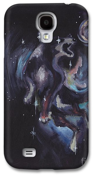 Constellations Paintings Galaxy S4 Cases - Jumping dog constellation Galaxy S4 Case by Robin Wiesneth