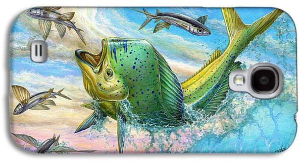 Jumping Mahi Mahi And Flyingfish Galaxy S4 Case by Terry Fox