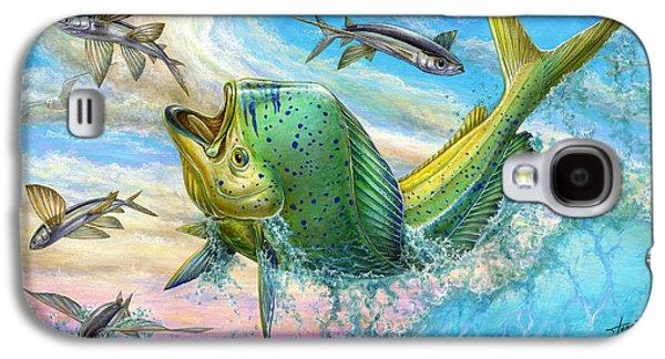 Marine Galaxy S4 Cases - Jumping Mahi Mahi And Flyingfish Galaxy S4 Case by Terry Fox