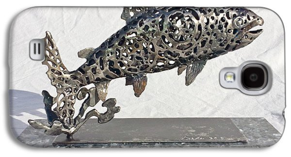 Gear Sculptures Galaxy S4 Cases - Jumping Trout Galaxy S4 Case by Pierre Riche
