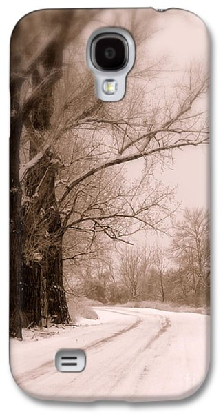 Winter Road Scenes Galaxy S4 Cases - Just Around the Bend  Galaxy S4 Case by Carol Groenen
