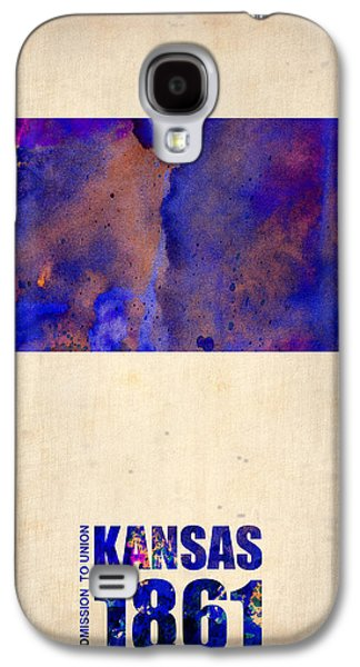 Kansas Galaxy S4 Cases - Kansas Watercolor Map Galaxy S4 Case by Naxart Studio