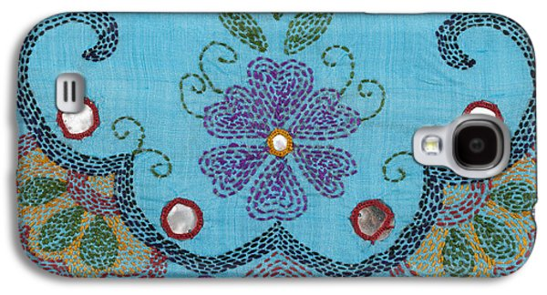 Indian Tapestries - Textiles Galaxy S4 Cases - Kantha Fabric Art on Turquoise Pure Silk Galaxy S4 Case by Anannya Chowdhury