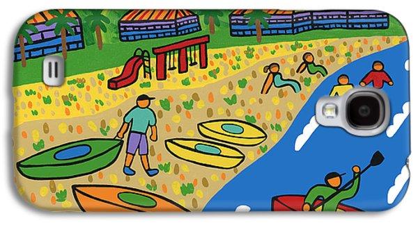 Cedar Key Galaxy S4 Cases - Kayak Beach - Cedar Key Galaxy S4 Case by Mike Segal