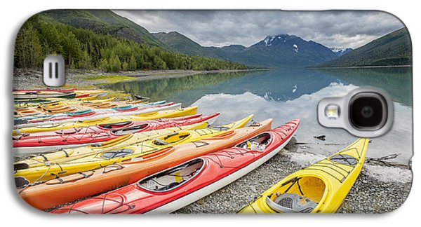 Reflections Of Sky In Water Galaxy S4 Cases - Kayaks In A Row On Shore At Eklutna Galaxy S4 Case by Remsberg Inc