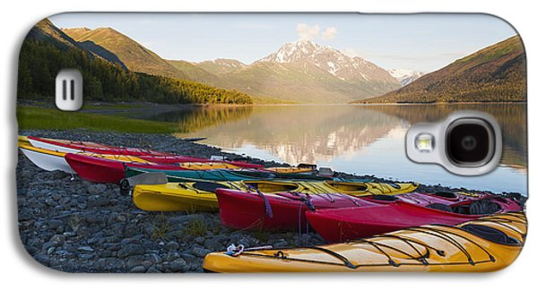 Boats In Reflecting Water Galaxy S4 Cases - Kayaks On The Shore Of Eklutna Lake Galaxy S4 Case by Michael DeYoung