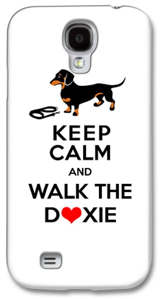 Dogs Digital Galaxy S4 Cases - Keep Calm and Walk the Doxie Galaxy S4 Case by Antique Images