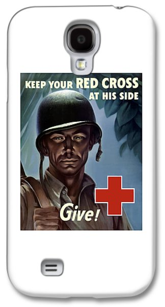 Red Mixed Media Galaxy S4 Cases - Keep Your Red Cross At His Side Galaxy S4 Case by War Is Hell Store