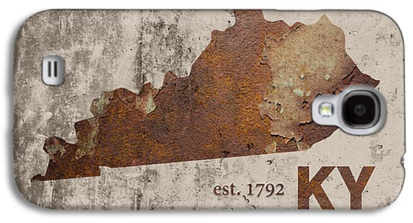 Industrial Mixed Media Galaxy S4 Cases - Kentucky State Map Industrial Rusted Metal on Cement Wall with Founding Date Series 002 Galaxy S4 Case by Design Turnpike