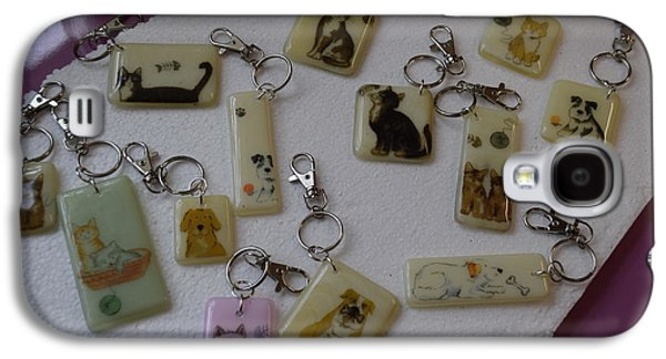 Puppy Glass Art Galaxy S4 Cases - Key Rings Galaxy S4 Case by Rosalind Duffy