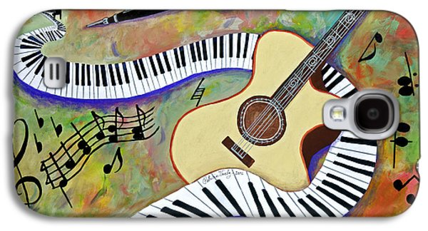 Contemporary Abstract Tapestries - Textiles Galaxy S4 Cases - Keys, strings and horn Galaxy S4 Case by Patricia Voelz
