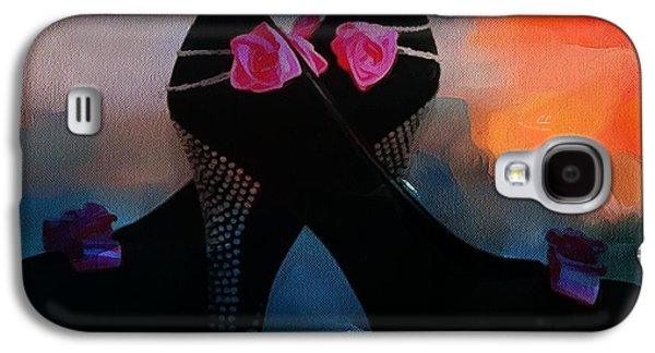 Catherine White Digital Galaxy S4 Cases - Kickin It In Heels In Thick Paint Galaxy S4 Case by Catherine Lott