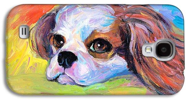Photo Drawings Galaxy S4 Cases - King Charles Cavalier Spaniel Dog painting Galaxy S4 Case by Svetlana Novikova