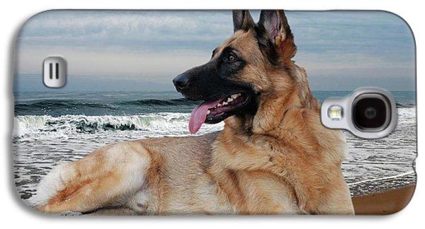 Dog Framed Prints Digital Galaxy S4 Cases - King Of The Beach - German Shepherd Dog Galaxy S4 Case by Angie Tirado
