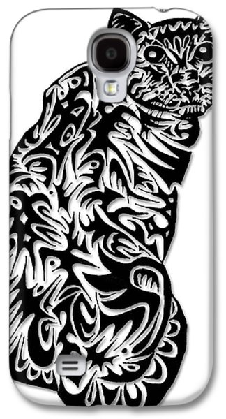 Abstract Digital Drawings Galaxy S4 Cases - Kitty Galaxy S4 Case by AR Teeter