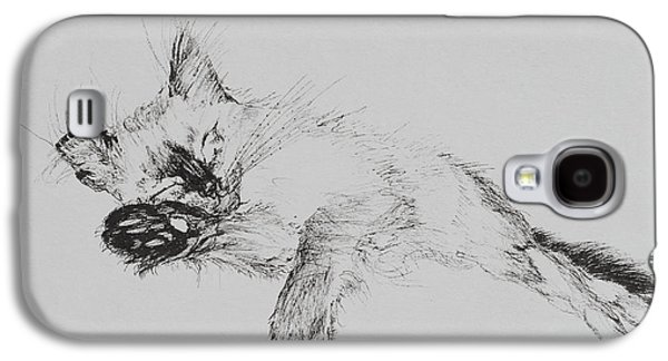 Pen And Ink Drawing Drawings Galaxy S4 Cases - Kitty Galaxy S4 Case by Vincent Alexander Booth