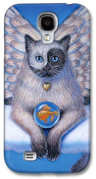 Fantasy Pastels Galaxy S4 Cases - Kitty Yin Yang- Cat Angel Galaxy S4 Case by Sue Halstenberg