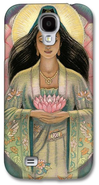 Buddha Art Galaxy S4 Cases - Kuan Yin Pink Lotus Heart Galaxy S4 Case by Sue Halstenberg