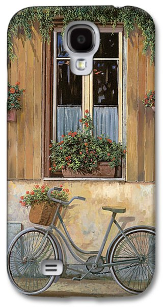 Street Paintings Galaxy S4 Cases - La Bici Galaxy S4 Case by Guido Borelli