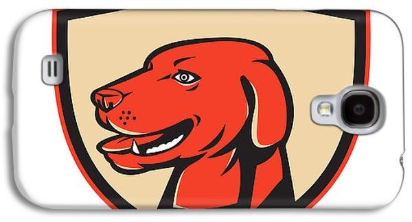 Labrador Digital Galaxy S4 Cases - Labrador Golden Retriever Dog Head Shield Retro Galaxy S4 Case by Aloysius Patrimonio