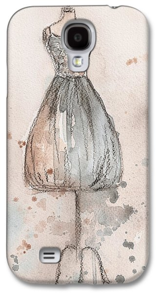 Champagne Paintings Galaxy S4 Cases - Lace Champagne Dress Galaxy S4 Case by Lauren Maurer