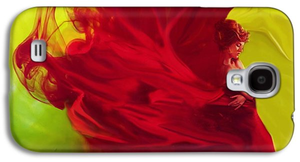 Abstract Digital Mixed Media Galaxy S4 Cases - Lady in Red Ink Galaxy S4 Case by Lilia D