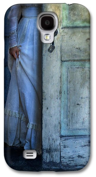 """""""haunted House"""" Galaxy S4 Cases - Lady in Vintage Clothing Hiding Behind Old Door Galaxy S4 Case by Jill Battaglia"""