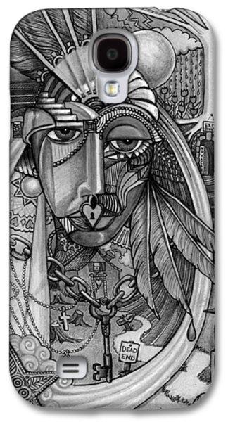Tear Drawings Galaxy S4 Cases - Lady Liberty - Bw Galaxy S4 Case by Caroline Czelatko
