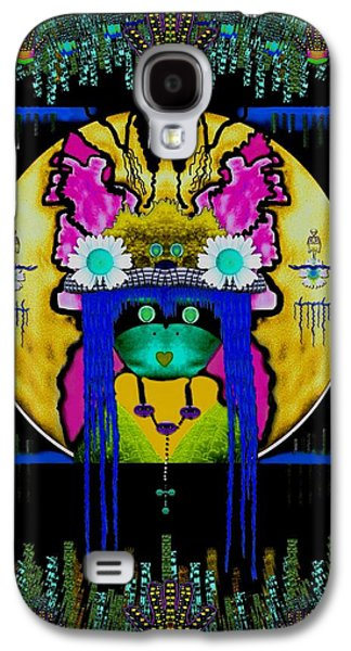 Abstract Nature Galaxy S4 Cases - Lady Panda with hamsa and loveable luck Galaxy S4 Case by Pepita Selles